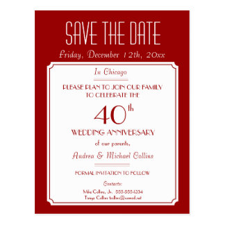 Party, Event or Reunion Save the Date in Red Post Cards