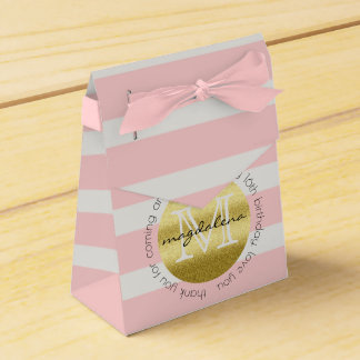 Party Favor Monogram Gold Glitter Pink Stripes Favour Box