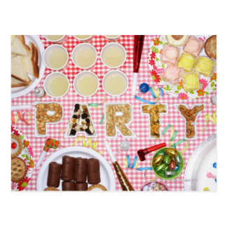 Party food on table in dishes spelling 'PARTY', Postcard