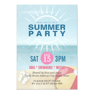Party for Summer / Beach / Pool / Summer Wedding 13 Cm X 18 Cm Invitation Card