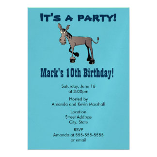 Party! Funny Big Eyed Donkey 13 Cm X 18 Cm Invitation Card