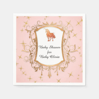 Party Girl Baby Shower Magical Unicorn Rose Gold Disposable Serviettes