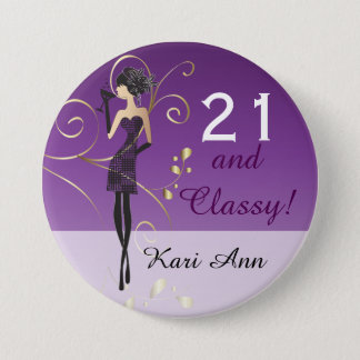Party Girl Birthday | DIY Text 7.5 Cm Round Badge