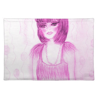 Party Girl Flapper in Hot Pink Placemat