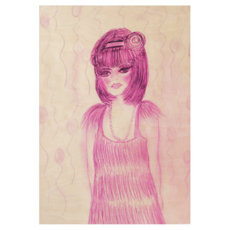 Party Girl Flapper in Hot Pink Wood Poster