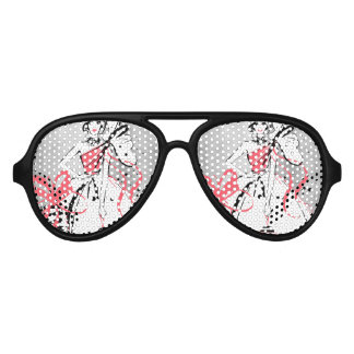 party girl on silver background aviator sunglasses