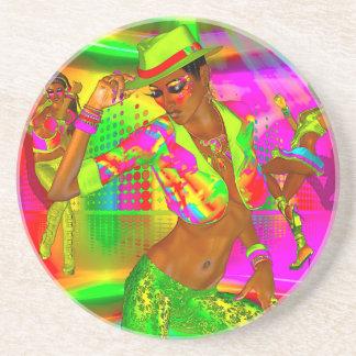 Party girls, disco dancing the night away coaster