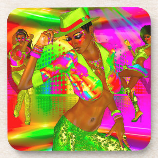 Party girls, disco dancing the night away coasters