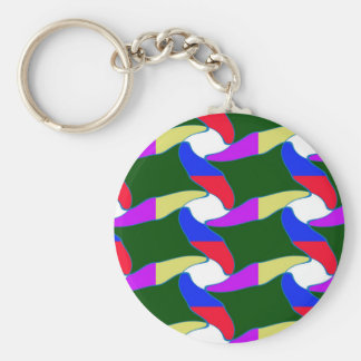 Party giveaway Lowprice gifts Colorful Waves fun Basic Round Button Keychain