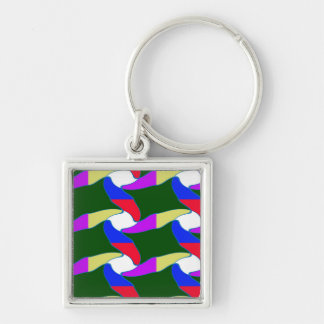 Party giveaway Lowprice gifts Colorful Waves fun Silver-Colored Square Key Ring