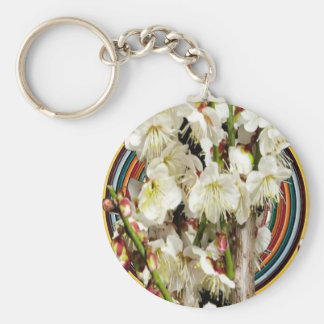 Party GIVEAWAY RETURN GIFTS: White Elegant Flowers Basic Round Button Key Ring