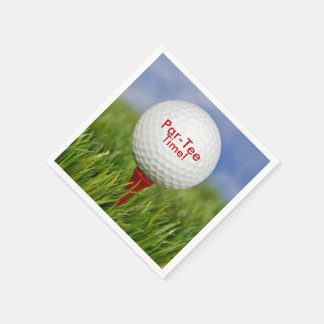 party golf ball on red tee disposable napkin