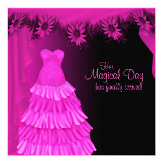 Party Gown Fuchsia Hot Pink Daisy Quinceanera Custom Invites