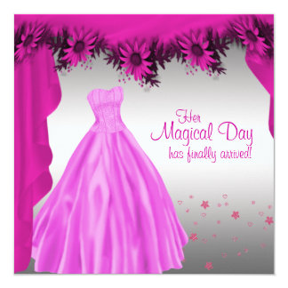 """Party Gown Fuchsia Hot Pink Daisy Quinceanera 5.25"""" Square Invitation Card"""