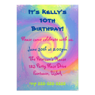 Party!  Groovy Abstract Spiral Swirl 13 Cm X 18 Cm Invitation Card