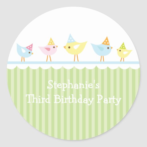 Party hat birds girl's birthday party stickers