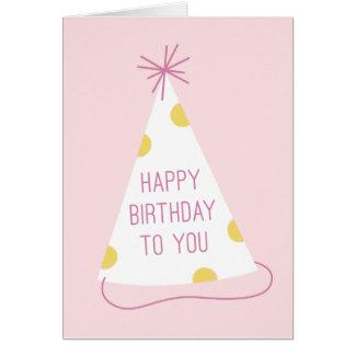 Party Hat Birthday Card - Blush