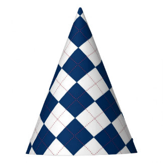 Party Hat with a blue and white argyle pattern