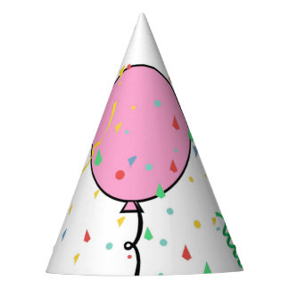 Party Hat with pink balloon and confetti