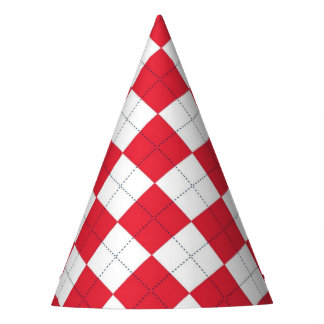 Party Hat with red argyle pattern