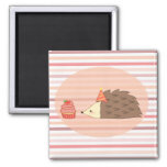 Party Hedgehog and Cupcake Square Magnet