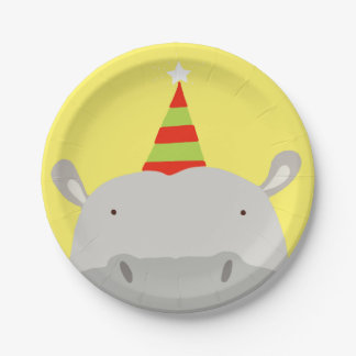Party Hippo Paper Plate