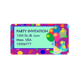 PARTY INVITATION ADRESS LABEL TAG