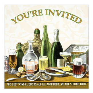 Party Invitation Beer Champagne Oysters