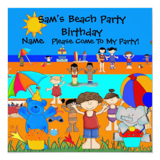 Party Invitation Birthday Beach Boy Girl Children