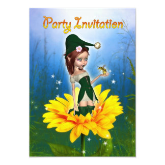 Party Invitation Cute Elf On Sunflower - Summer