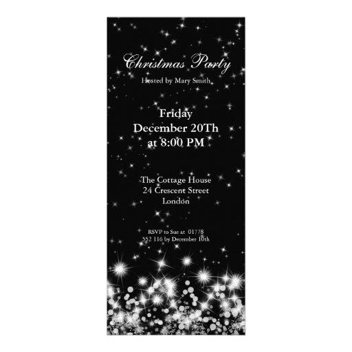 Party Invitation Elegant Winter Sparkle Black Custom Invite