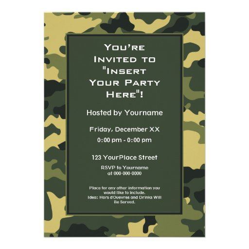 Party Invitation: Green Military Camouflage