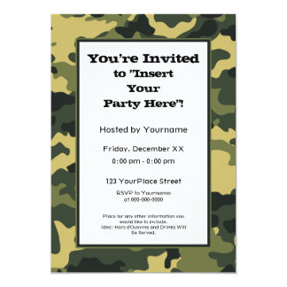 Party Invitation: Green Military Camouflage 13 Cm X 18 Cm Invitation Card