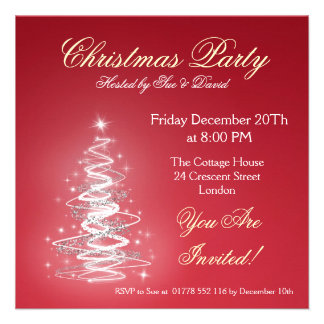 Party invitation red with Christmas Tree Invites