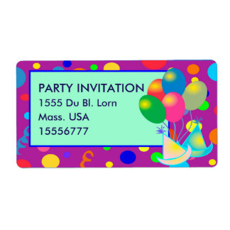 PARTY INVITATION SHIPPING LABEL TAG