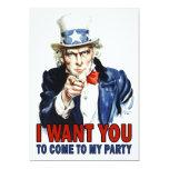 Party Invitation: Vintage Uncle Sam 13 Cm X 18 Cm Invitation Card