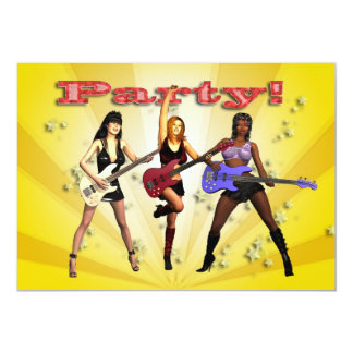 Party invitation with a girl band
