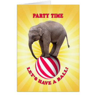 Party Invitation with a happy elephant on a ball