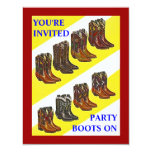 PARTY INVITE ~ BOOTS ON ~ Western style INVITATION 11 Cm X 14 Cm Invitation Card