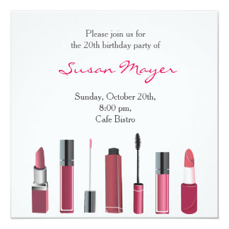 Party Invite Card Lipstick Make up Mascara Red Fun