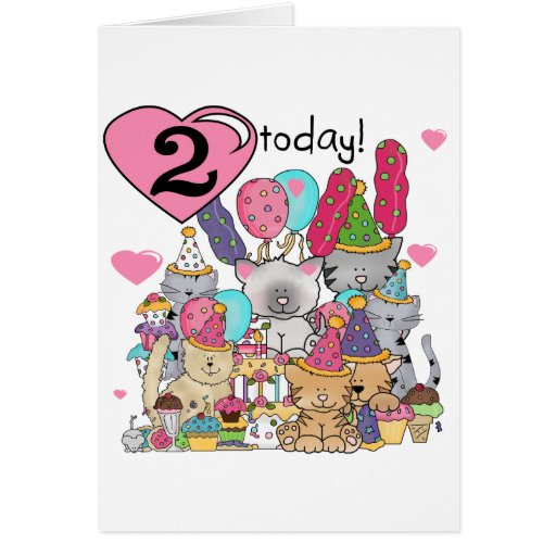 Party Kittens 2nd Birthday T-shirts and Gifts Card