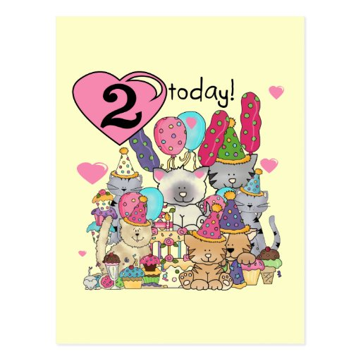 Party Kittens 2nd Birthday T-shirts and Gifts Post Card