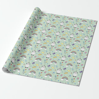 Party Lamb On Blue Wrapping Paper