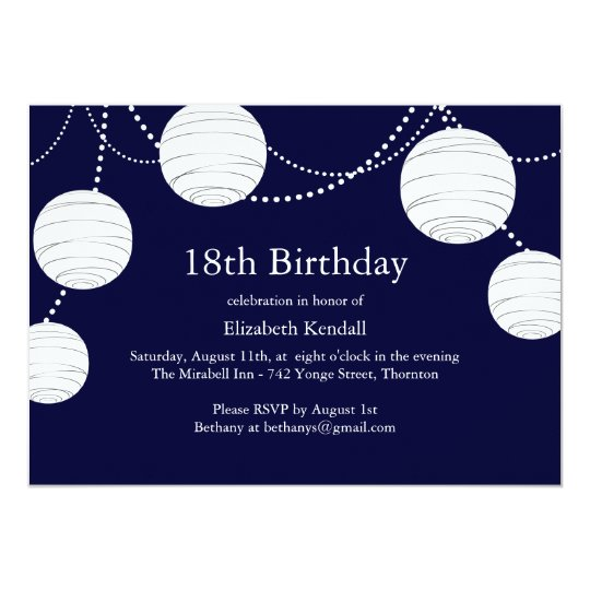 Party Lantern 18th Birthday Invitation