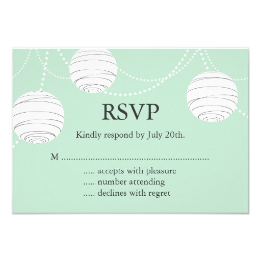 Party Lanterns RSVP in Mint Green Custom Announcements