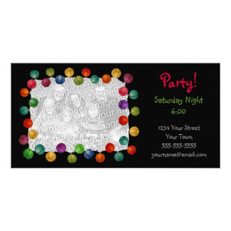 Party Lights Black Photocard Customised Photo Card