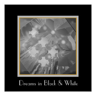 Party Lights in Black and White Poster