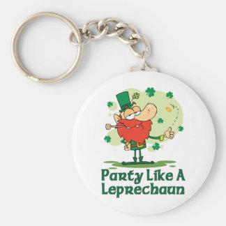 Party Like a Leprechaun Basic Round Button Key Ring