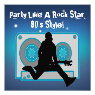 Party Like A Rock Star 80 s Party Invitations