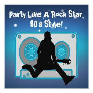Party Like A Rock Star 80's Party Invitations